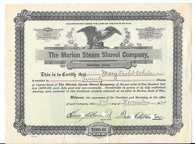 The Marion Steam Shovel Co. 20 shares Mary Violet Lohelau Stock Certificate 1924