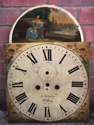 Antique Longcase Clock Dial Hand Painted Grandfather Face Signed 8 Day Arch Dial