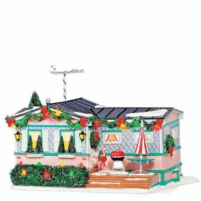 New Dept 56 Christmas Court Village Trailer Lighted Building Lot 57 Pink House