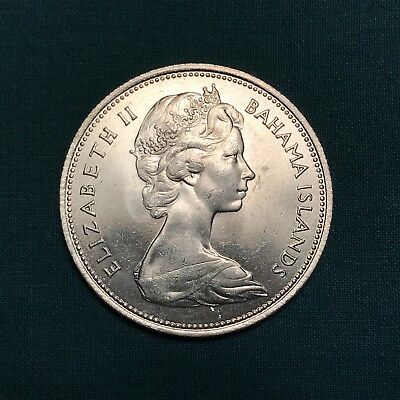 1966 Bahamas Islands Elizabeth II 50 Fifty Cents Marlin 80% Silver Coin UNC