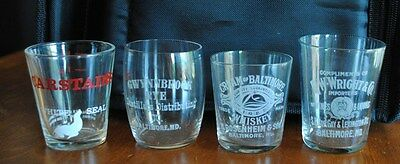 Rare Baltimore Whiskey Etched Shot Glasses Cream Of Baltimore,r.w.wright And Oth