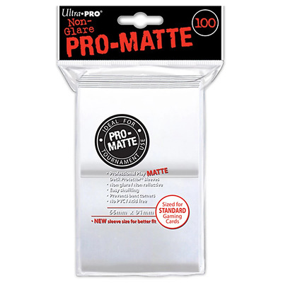 ULTRA PRO Deck Protector Sleeves Pro Matte White Standard 100ct 66 x 91mm