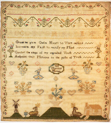 c1815, HARRIOT HOWE, ANTIQUE 19thC SAMPLER EMBROIDERY, HOUSE ANIMALS CHRISTIAN