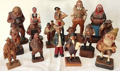 Vintage 16 PC Lot Hand Carved Wood Folk Art Carvings Assorted People & Sizes