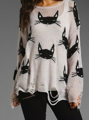 CLEARANCE! Loose Knit Distressed Kitty Cat Sweater - SHIPS FAST