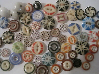90 Antique China Buttons Large Lot Stencil Calico Inkwell Etc.