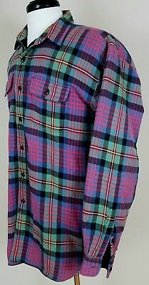 Vtg 80's Polo Ralph Lauren lined flannel shirt jacket multi colored plaid XL