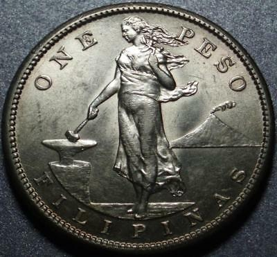 """1908-S UNITED STATES PHILIPPINES Large Size SILVER """"ONE PESO"""" San Francisco MINT"""