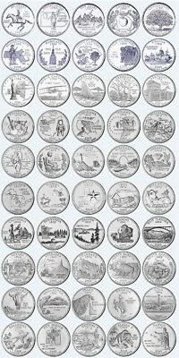 COMPLETE SET OF 50 UNCIRCULATED STATE QUARTERS! - taken from U.S. Mint Rolls