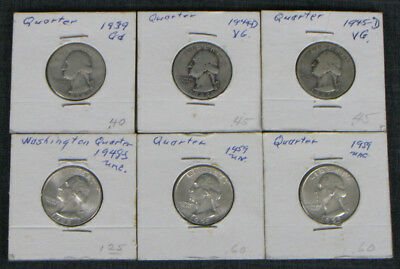 Lot Of 6 Quarters Ranging From 1939 To 1959, Home Mounted