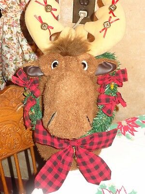 Animated Christmas Moose Trophy Head Wall Hanging Lighted Sings Mouth Moves