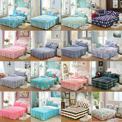 Floral Dust Ruffle Bed Skirt Cover Easy Fit Bedspread Sheet Valance Home Decor A
