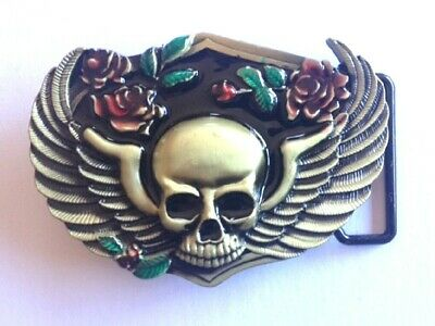 """Belt Buckle - Skull With Wings and Roses. Biker Buckle to suit 1.5"""" (40mm) Belt"""