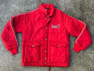 Vintage BUDWEISER Beer Spell-Out Red/White Jacket Medium 1970s