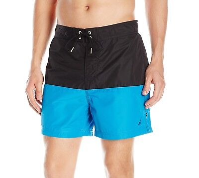 Nautica NEW Blue Black Mens US Size 2XL Colorblock Board Surf Shorts $69 #289
