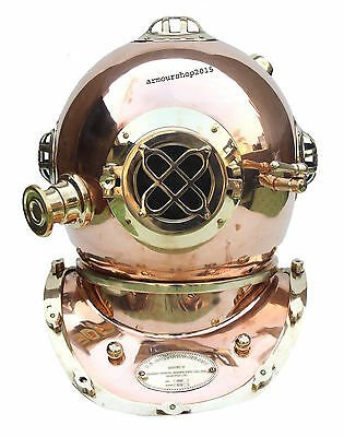 Diving Divers Helmet Solid Brass & Copper Morse U.S Navy Mark Christmas Gift