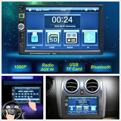 """7"""" 2DIN HD Touch Screen Car Bluetooth Stereo Video MP5 Player FM Radio USB AUX"""