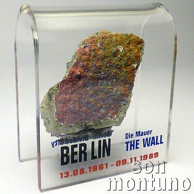 Small BERLIN WALL PIECE Acrylic Display DIVIDED CITY - Authentic German Artifact