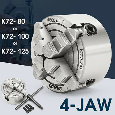 80/100/125Mm K72 4 Jaw Independent Lathe Chuck Single-Action Chucks Lathes