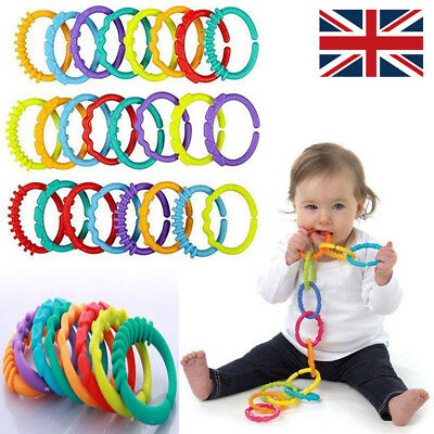 Plastic Baby Kids Infant Stroller Gym Play Mat Toys Rainbow Teether Ring Links