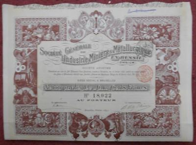 31798 RUSSIA 1897 Mining&Metallurgy in Russia 500 Francs Preferred share cert