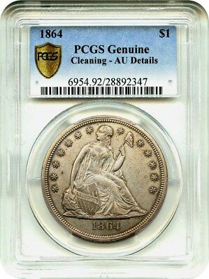 1864 $1 PCGS Genuine AU Details (Cleaning, Secure) - Liberty Seated Dollar