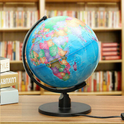 17CM World Earth Globe Atlas Map LED light Geography Education With Swivel Stand
