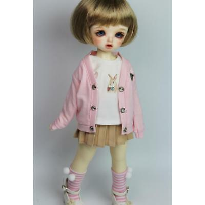 BJD Clothing Pink Peach Collar Long Sleeve Cardigan Outwear for 1/6 SD AS DZ