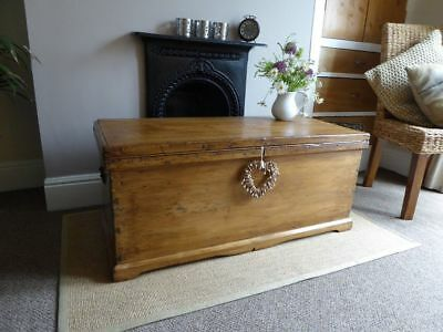 Antique Victorian Old Pine Chest Trunk Blanket  Box / Coffee Table