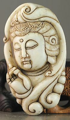 China old natural jade hand-carved buddha statue pendant nice gift