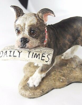 Vtg Dog Boxer Carry News Paper Daily Miniature Chip Face Eye Kitsch Stocking