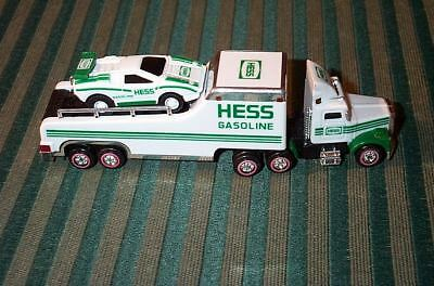 2001 Hess Miniature Racer Transport Toy Truck With Mini Racer Car, New Batteries