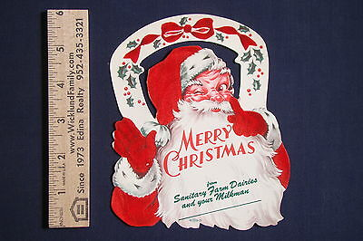 Vintage Original Milkman Flocked Santa Christmas Card From Sanitary Farm Dairies