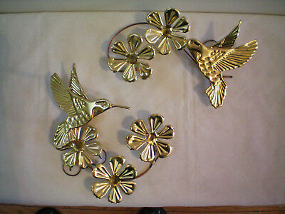 Vintage 2 Pc Homco Home Interior Gold Metal Hummingbirds & Flowers Wall Plaques