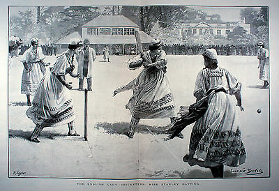The English Lady Cricketers Cricket Match 1881 Illustrated London News 41x57cm