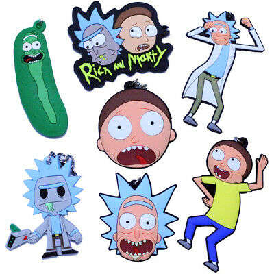 Cartoon Rick and Morty Head Sofy Rubber Silicone Key Chain Keyring Keychain