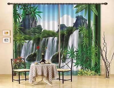 3D Bamboo Waterfall 63 Blockout Photo Curtain Curtains Drapes Fabric Window CA