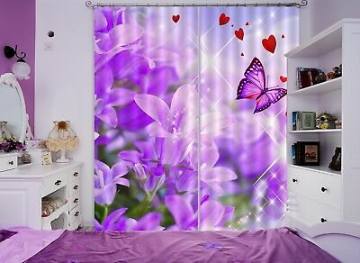 3D Butterfly Flowers 52 Blockout Photo Curtain Curtains Drapes Fabric Window CA