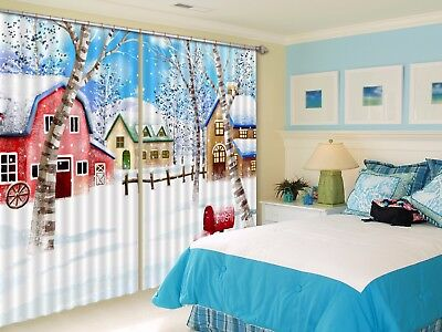 3D Snow View House 62 Blockout Photo Curtain Curtains Drapes Fabric Window CA
