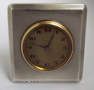 Superb English Antique 1924 Solid Sterling Silver Cased 8 Day Travel Clock Works