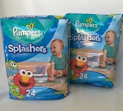 Pampers Splashers Lot of (2) Swim Pants Size 3/4 Diapers 24 Count (2 Packs = 48)