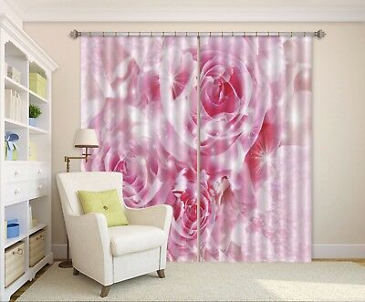 3D Shiny Pink Roses 63 Blockout Photo Curtain Curtains Drapes Fabric Window CA