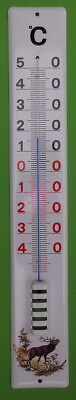 Emaille Thermometer Emaillethermometer 60 cm  Email mit  Jagd-Wildmotiv