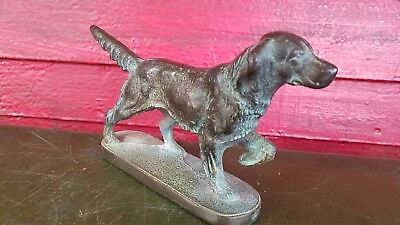 Vintage Irish Setter Retriever Heavy brass door stop Dog Great Patina