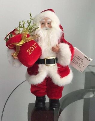 """SANTA CLAUS IN FULL DRESS WITH SACK 8"""". Sack is marked 2017!"""