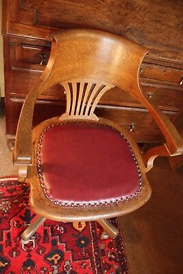 Lovely Antique Oak Captains Swivel & Tilt Office/Desk Chair by JS Ford Johns