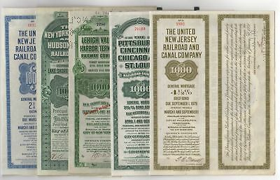 Lot of 5 different Railroad Bonds with train vignettes