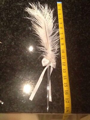 White ostrich Feather Pen. Wedding? Stocking Filler. New.