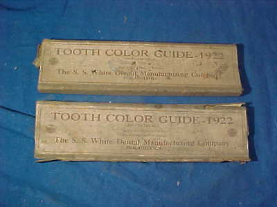 2 Boxes-1922 DENTAL TOOTH COLOR GUIDES w Orig BOX w Sample Teeth