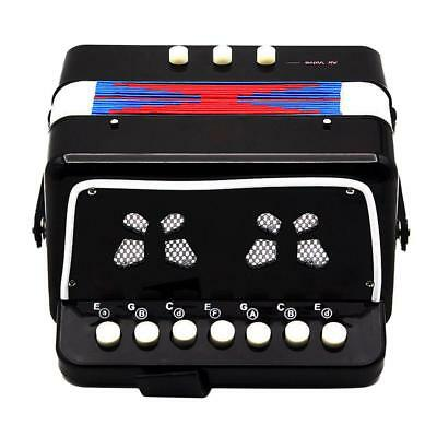 Kids Accordion Toys Effect with 7-Key 2 Bass Buttons Music Instrument Black